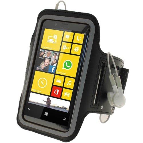 Belkin Dual Fit Armband (iGadgitz Reflektierenden Anti-Rutsch Neopren Sportarmband für Nokia Lumia 720-Schwarz)