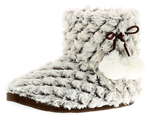 New Ladies/Womens Beige Slippers With Pom Poms To Side - Beige -...