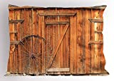 Western Pillow Sham, Ancient West Rural Town Rustic Weathered Wooden Wall Door Wagon Wheel in Front Image, Decorative St