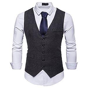 WHATLEES Herren Schmale Tweed Weste mit Zweireihige Knopfleiste