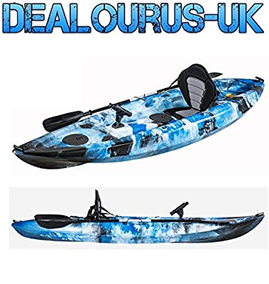 Dealourus Single or Tandem Sit On Top Fishing Kayak. With 5 Rod Holders, Storage Hatches, Padded Seat & Paddle (Blue Camo) by Dealourus