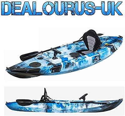 dealourus único o Tandem Sit On Top Kayak pesca. Con 5soportes de barra, almacenamiento escotillas, asiento acolchado y remo (azul camuflaje)