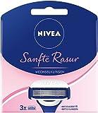 Nivea Sanfte Rasur Wechselklingen (3 Rasierklingen für Nivea Rasierer mit Wechselklingen, Rasieraufsätze mit je 5 Einzelklingen und Gleitpad) 3er Pack (2 x 3 Stück)