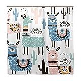 BALII Watercolor Lama Duschvorhang 182,9x 182,9cm Polyester Wasserdicht mit 12Haken für Badezimmer