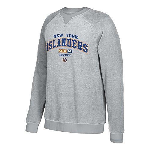 adidas NHL New York Islanders CCM Praxis Crew Fleece, Medium, Stone (New York Islanders Hoodie)
