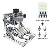 Wisamic DIY CNC Fräsmaschine 1610 GRBL , Arbeitsbereich 160 * 100 * 45mm DIY CNC Router Maschine 3 Achsen Mini Holz PCB Acryl Fräsmaschine Metall Gravur Carving Maschine +10 Stück CNC Fräsbits (Ohne ER11)