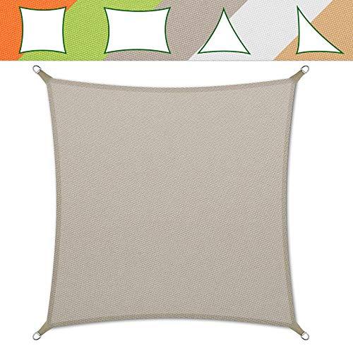 casa pura® Sonnensegel wasserabweisend imprägniert | Testnote 1.4 | quadratisch, 3x3m | UV Schutz | viele Farben (grau)