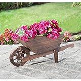 Beautiful Burntwood Wooden Wheelbarrow Planter by OnlineDiscountStore