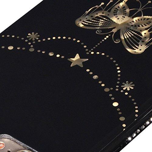 iphone 5s Case, Custodia per iphone SE 5 5S 5G, Sunroyal® Bling Diamante Brillante Bumper Ultra sottile TPU Silicone Gel Nero Back Case Cover Protettiva Skin Caso Antigraffio Slim Copertura Shell - Pi Modello 01