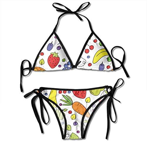 Hipiyoled Frauen Triangle Bikini Obst, Beeren und Gemüse Krawatte Seite Badeanzug