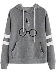 Mujer Sudaderas Con Capucha Manga Larga Varsity Gafas De Harry Potter Camisetas Encapuchado Ante Bolsillo Tops Casual Sweatshirt De Marca Abrigo Deportes Rayas Deporte Mujeres