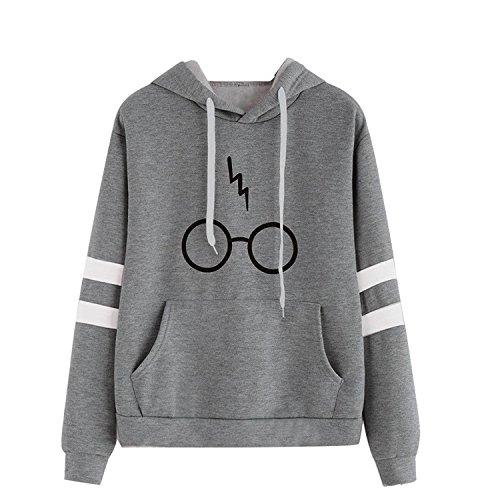 Mujer Sudaderas Con Capucha Manga Larga Varsity Gafas De Harry Potter Camisetas Encapuchado Ante Bolsillo Tops Casual