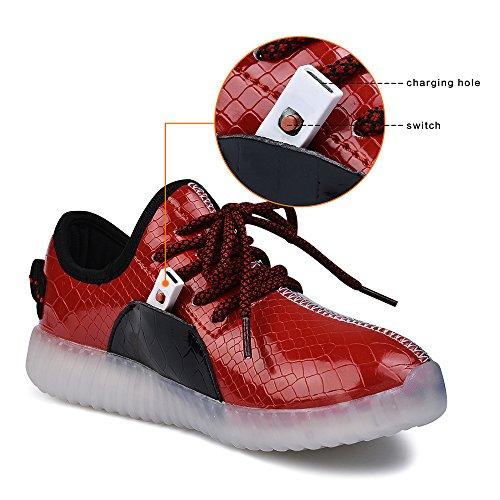 QANSI 7 Colore Shoes LED Di Unisex Del Bambino Di Carica USB Scarpe Leggere Luminosi Indicatori Sport Sneakers Per Ragazzi E Ragazze NeroRosso
