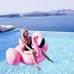 CilyCily Oro Rosa Flotador inflable en forma de flamenco tamaño gigante para la piscina o playa, flamenco flotador hinchable para la piscina o la playa