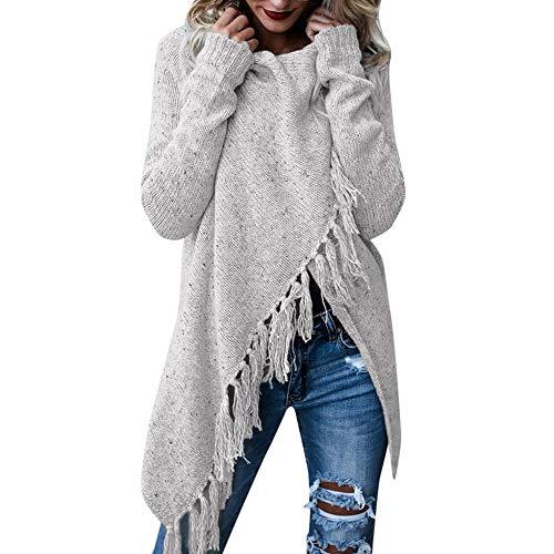 Winter Bequem Lässig Mode Frauen Streifen Poncho Herbst Quasten Slash Gradient Schal Saum Fransen Lose Pullover(Grau, M) ()