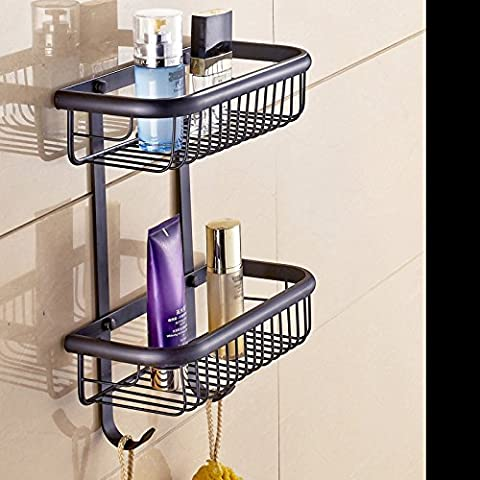 ZAIG de haute qualité tout en cuivre Double Porte Noir Porte-serviettes en cuivre Bronzer étape étagères de stockage Towel Rack laiton rack européen serviette, B