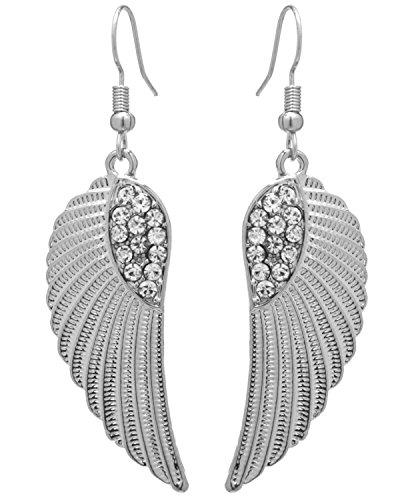 2LIVEfor Ohrringe Silber Lang hängend Flügel Ohrringe Engelsflügel Silber groß Glitzer Strass Steine (Silber)