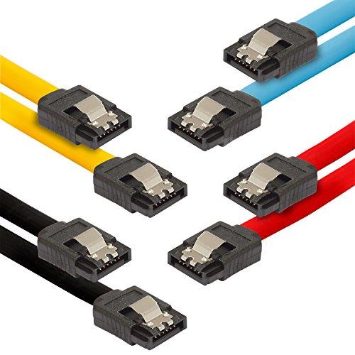 Poppstar 4x S-ATA 3 HDD SSD Datenkabel (0,5 m, 2x Stecker gerade) (bis zu 6 Gbit/s), Sata Kabel für Festplatte, Motherboard, PC Case Modding uvm., schwarz, gelb, rot, blau