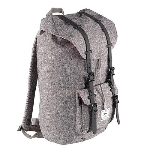 """Yuluo zaino moderno, semplice e unisex per trekking con una finitura grigia e chiusure a strap neri con clip magnetiche – perfetto per un laptop da massimo 15.6"""""""