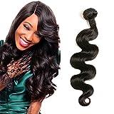 DAIMER Body Wave Brazilian Hair 1 Bundles Tressen Echthaar Verlängerung Human Haar Haare Echthaar Extensions Natural Locken Wellig Locken Die Natürlichen 14 Inches