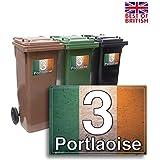 Bandera de Irlanda–bloque estilo, juego de 4x A5personalizable Wheelie papelera adhesivo/vinilo etiquetas con número de casa y nombre de la calle–[A5] 21cm x 15cm Kit de 4x Pegatinas siempre