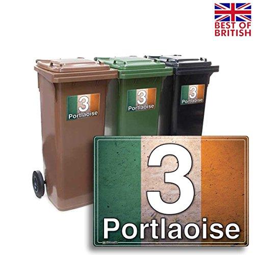 Irische Flagge–Block Style, Set von 4x A5individuellen Mülltonne Aufkleber/Vinyl-Etiketten mit Hausnummer und Street Name–[A5] 21cm x 15cm Kit of 4x Aufkleber der