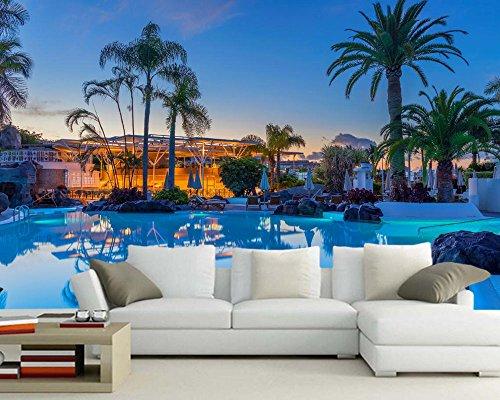 ZCHENG Spanien Resorts Swimming pool palmen tapete wohnzimmer sofa schlafzimmer TV sofa wand restaurant benutzerdefinierte wandbild, 250x175 cm (98,4 x 68,9 in)