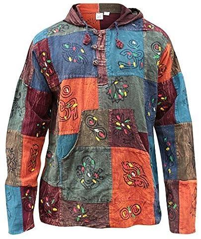 Shopoholic Fashion Hooded Stonewash Patchwork Blocked Grandad Hippie Shirt(s)