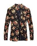 Herren Modern Slim Fit Business Vintage Blumenmuster Anzug Jacke Sakko Schwarz XL