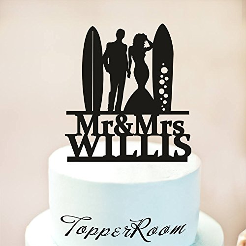 Surfers Wedding Cake Topper,Mr And Mrs Surfers And Surfboards Wedding Cake Topper,Surfing Cake Topper,Surf Couple Cake Topper Wooden Or Acrylic Cake Topper Cake Decoration