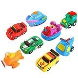 Keriber 8 Stücke Schwimmen Baden Spielzeug Gummi Boot Wagen Flugzeug Bad Spritzen Spielzeug für die Kinder und Babys