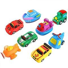 Idea Regalo - Keriber 8 Pack Galleggiante Bagno Giocattoli Gomma Galleggiante Veicolo Aeromobile Bagno Squirt Giocattoli per neonati o bambini