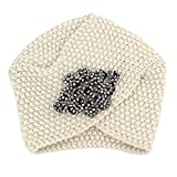 Willsego Sombrero de Lana Tejido a Mano Popular de Europa y los Estados Unidos Tejidos a Mano Granos de maíz en Forma de Diamante Viento Nacional de Punto, Negro (Color : Blanco)