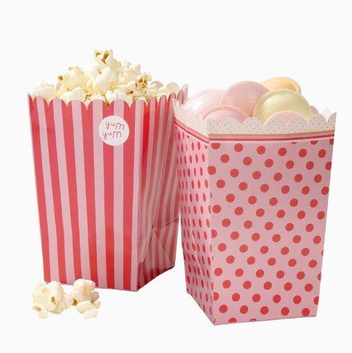 Talking Tables Pink-n-mix boîtes à popcorn à motifs variés rose