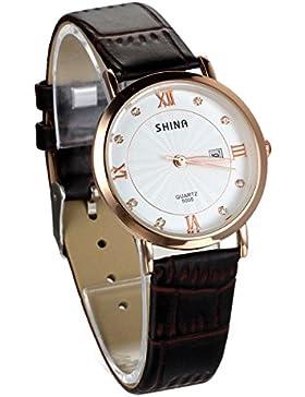 JewelryWe Damen Armbanduhr, Analog Quarz Wasserdicht, Exquisite Braun Leder Armband Uhr mit Weiss Strass Kalender...