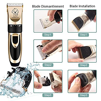 Dog Clippers, Professional Electric Cat Dog Grooming Clippers Kit with 4 Comb/Scissors/Nail File/Claw/Hair Clippers… 6