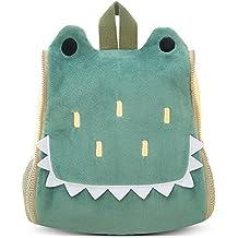 BELK Niño Pequeño Cool Animal Pack Sidekick Mochila Pequeña Infantil Niños Escuela Bolsa de Almuerzo con Bolso de Mano,Copa de Agua/Soporte para Botella,Verde Crocodile