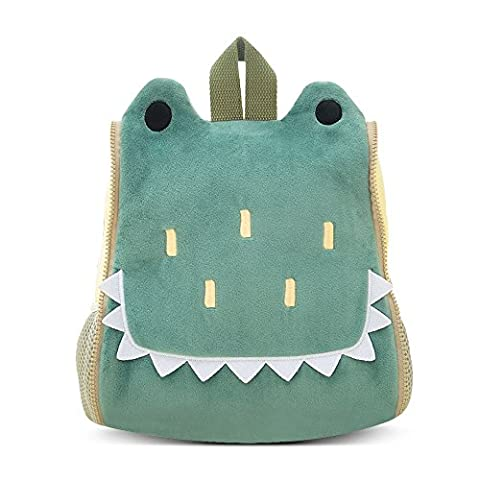 BELK Little Boys' Cool Animal Pack Sidekick Backpack Small Kid Toddler Childrens School Lunch Bag with Tote Hand, Water Cup / Bottle Holder - Green Crocodile