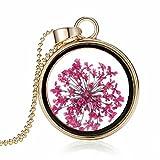 AMDXD Damen Kette Vergoldet Rosa Trockene Blumen im Runde Glas Echt Blumen Anhänger Halskette 60CM