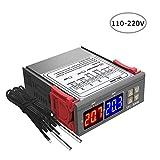 KKmoon Regulador de temperatura con termostato de pantalla digital dual Controlador de temperatura con sonda NTC doble Calentador Sensor Sonda Dos salidas de relé DC 12V, DC 24V, AC 110-220V