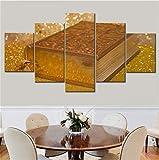 JRDWLH ImpressionssurToile 5 Pièces Or Couleur Bible Toile Peinture Mur Art Moderne Photos Salon Décor À La Maison Affiche (B) with_A_Frame