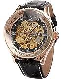 KS Armbanduhren männer groß für Herren Uhren Automatische Skelett Mechanische Leder Armband Lederband Uhr Schwarze KS112
