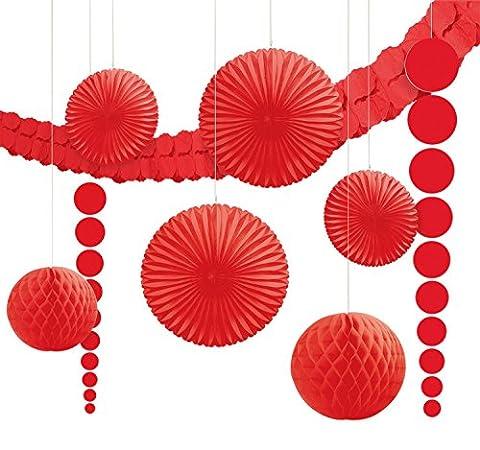 Amscan 243568-40-55 - Hängedekoration Set, 9-teilig, rot