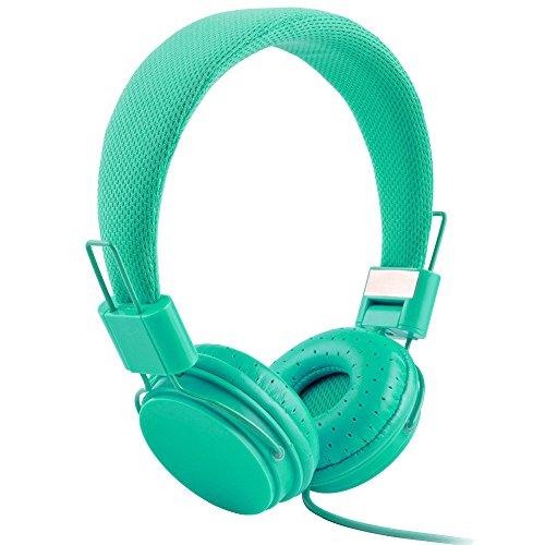 Gaddrt Écouteurs câblés, casque pliable réglable avec microphone stéréo micro (Menthe vert)
