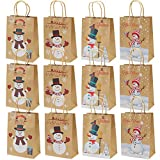 Elcoho 12 Pieces Christmas Kraft Bags Holiday Party Bag Shopping Bags Paper Bags with Handle for Christmas Decorations Bild