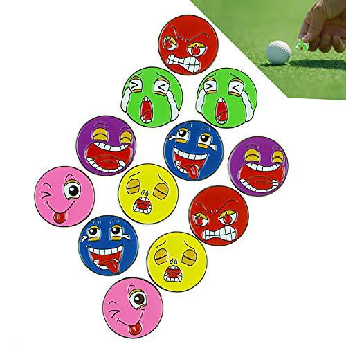 Crestgolf Golfball-Marker, magnetisch, mit Clip, Verschiedene Gesichtsdesign, 12 Golfmarken. -