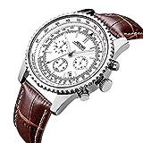 JEDIR Herren Chronograph Uhren Sport Quarz Armbanduhr Weiß Analoges Zifferblatt Datumsanzeige mit braun Lederarmband