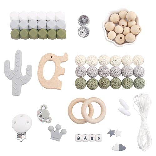 baby tete Baby Silikon Beißring Perlen Lebensmittelqualität Elefant Anhänger DIY Halskette Kinderkrankheiten Kit Junge Geschenke