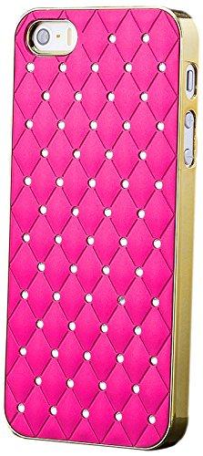 iCues Apple iPhone SE / 5S / 5    Chrom Strass Case Gold / Pink   [Display Schutzfolie Inklusive] Strass Glitzer Glitter Luxus Bling Damen Frauen Mädchen Chrome Schutzhülle Hülle Cover Schutz