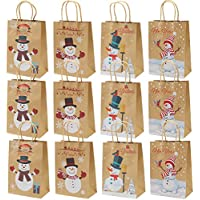Elcoho 12 Pieces Christmas Kraft Bags Holiday Party Bag Shopping Bags Paper Bags with Handle for Christmas Decorations